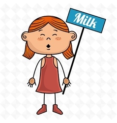 Girl milk box drink vector