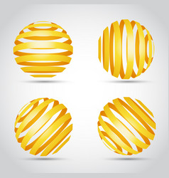 golden stripes planet on wite background vector image vector image
