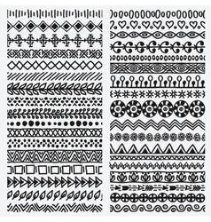 Hand drawn seamless ethnic line border set vector