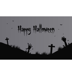 Hand zombie and graveyard halloween vector