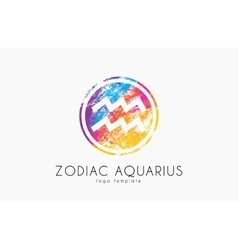 Horoscope symbol Zodiac aquarius logo Zodiac vector image vector image