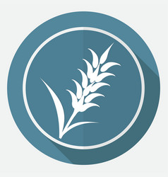 Icon ears of wheat on white circle with a long vector