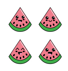 kawaii watermelon diferents faces icon vector image vector image