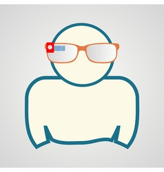 Man with smart glasses vector