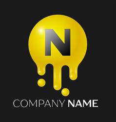 N letter splash logo yellow dots and bubbles vector