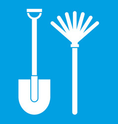 Rake and shovel icon white vector