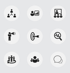 Set of 9 editable team icons includes symbols vector