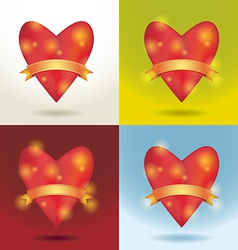 Set Red glossy shiny heart 3d and gold ribbon Love vector image vector image
