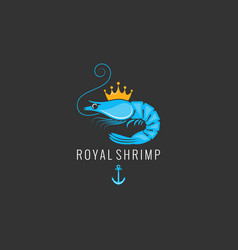 Shrimp logo on black background vector