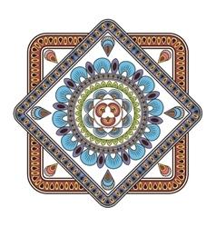 Squared multicolore decorative line mandala icon vector