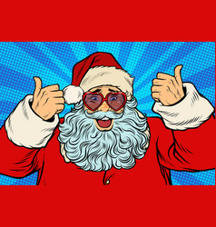 thumbs up santa claus in pink heart glasses vector image vector image