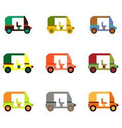 Transportation golf cart flat icons collection vector
