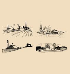 village landscapes set hand vector image vector image