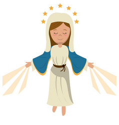 Virgin mary ascension blessed image vector