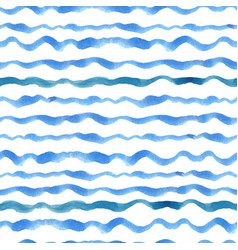 Watercolor strips seamless pattern setblue cyan vector