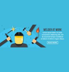 welder at work banner horizontal concept vector image