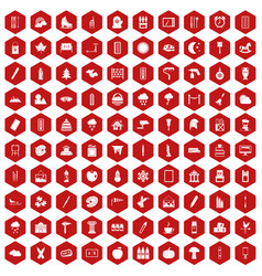 100 drawing icons hexagon red vector