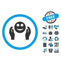 Smile care hands flat icon with bonus vector