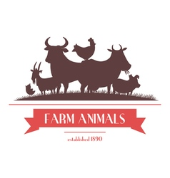 Farm Animals Label Or Signboard Design vector image