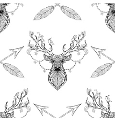 Magic deer with arrows seamless pattern in vector image
