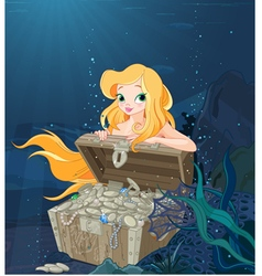Cute Mermaid Over a Treasure Chest vector image