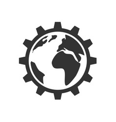 Planet inside the gear icon vector