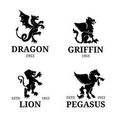 Monogram templates luxury pegasus lion vector