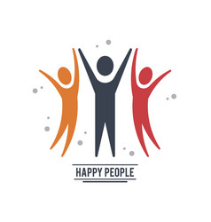 Colorful teamwork happy people with three vector