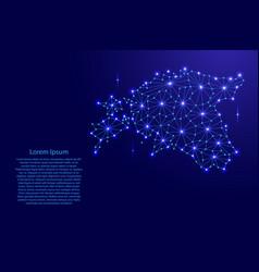 Estonia map of polygonal mosaic lines network ray vector