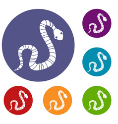 Striped snake icons set vector