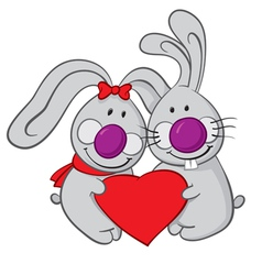 Valentine bunnies vector
