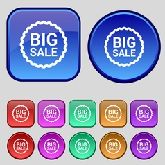 Big sale icon sign a set of twelve vintage buttons vector