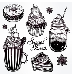Sweet desserts icons set in vintage style vector