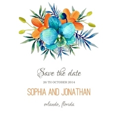 Wedding invitation watercolor with flowers vector