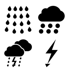 Thunderstorm flat icons vector