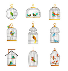 bird cages with different birds set of vector image