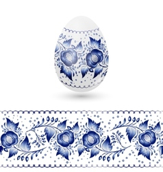 Blue Easter egg stylized Gzhel Russian blue floral vector image vector image