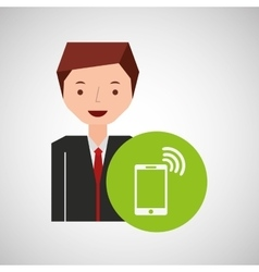 cartoon man connected smartphone wifi vector image vector image