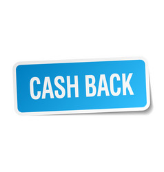 Cash back blue square sticker isolated on white vector