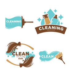 Cleaning service logo emblems with equipments set vector