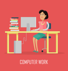 computer work concept in flat design vector image vector image