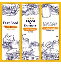Fast food burgers pizza sandwich sketch banners vector