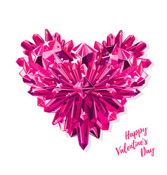 greeting card for valentines day purple heart vector image
