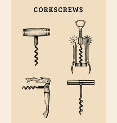 Hand drawn corkscrews set retro vector