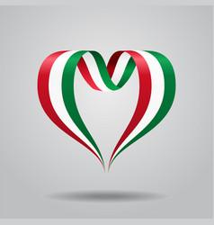 Hungarian flag heart-shaped ribbon vector