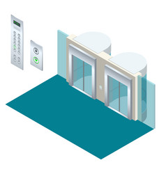 isometric elevator lift isometric interior vector image vector image