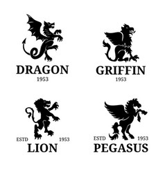 monogram templates luxury pegasus lion vector image