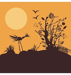 Nature scene at sunset vector image vector image