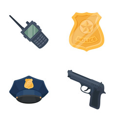 Radio police officer s badge uniform cap pistol vector
