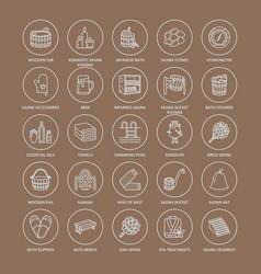 Sauna steam bath line icons bathroom equipment vector